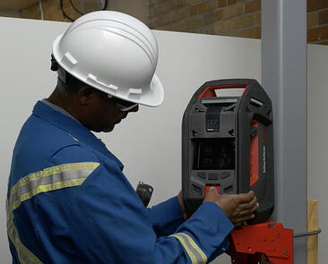 Blackline Safety G7 EXO mounted area gas monitor for confined space entry.