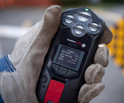 G7 in glove with CO gas detection alerts
