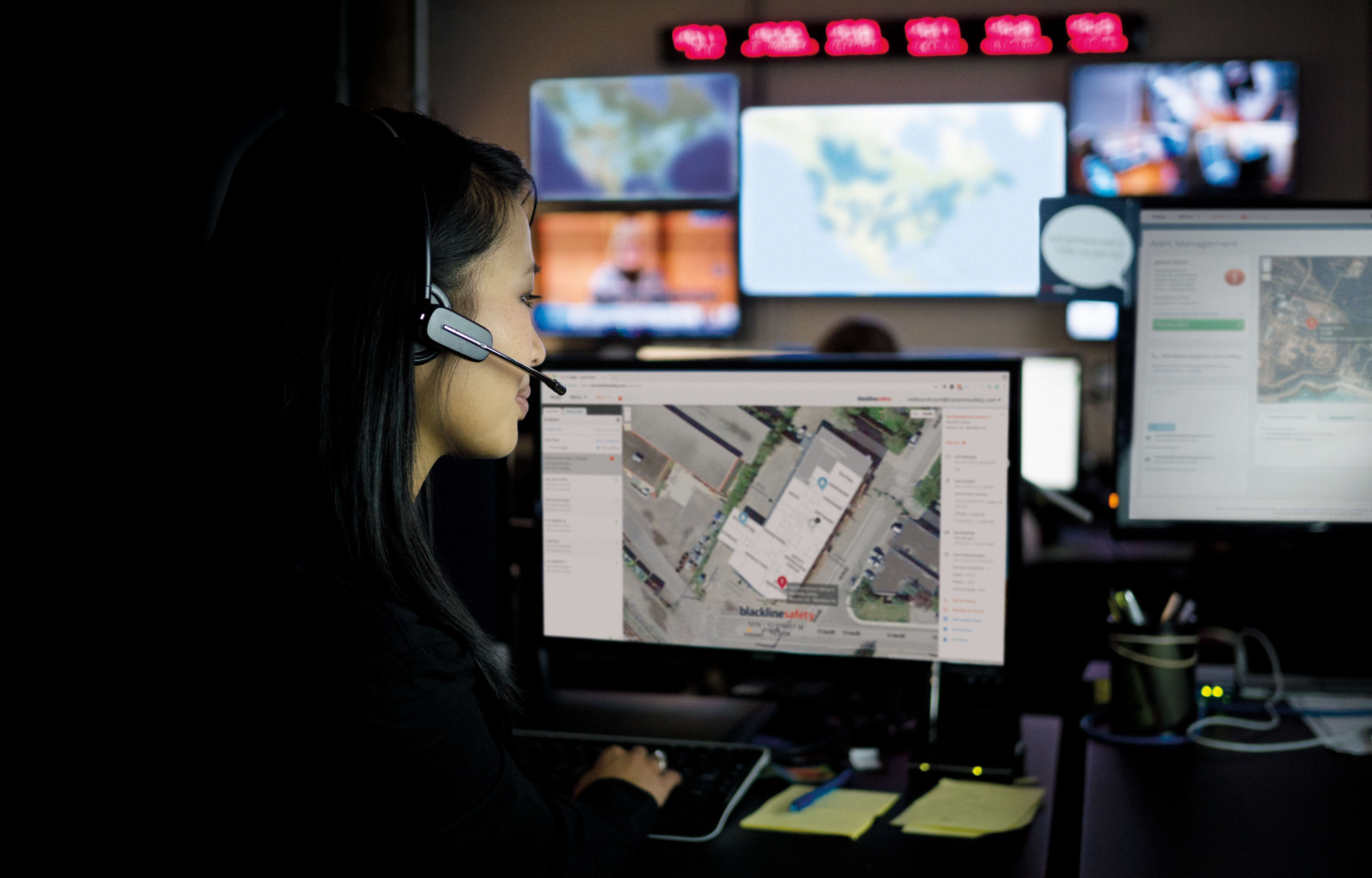 Safety monitoring with screens in background